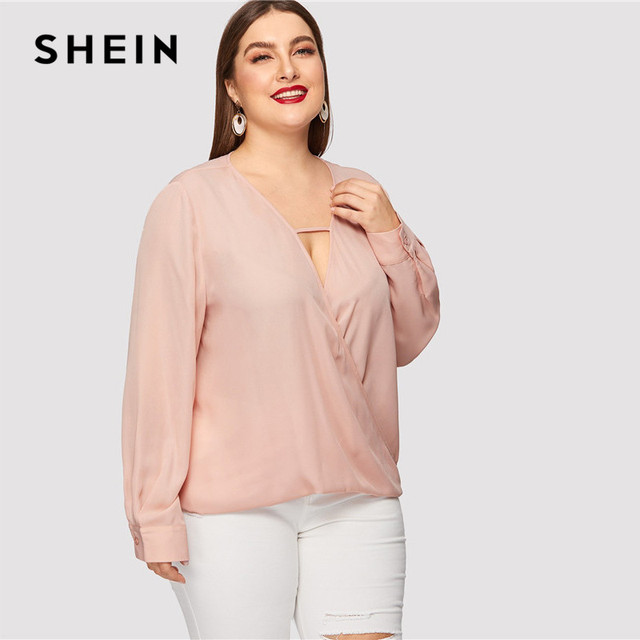 SHEIN Sexy Deep V Neck Surplice Wrap Plus Size Women Sweet Pink Blouses Spring Summer Thin Long Sleeve Solid Top Blouse 4