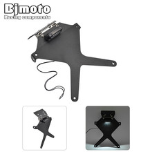 цена на Bjmoto Motorcycle MT07 Adjustable Number License Plate Mount Holder Bracket With Plate light For Yamaha MT07 MT 07 2015 2016