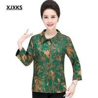 XJXKS 2019 New Women Summer New Chiffon Shirt Green And Red Printing Plus Size Middle aged Women Thin Turn down Chiffon Blouses