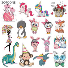 ZOTOONE Cute Animal Stripes Iron on Transfer Patches on Clothing Diy Patch Heat Transfer for Clothes for Girl T-shirts Sticker M(China)