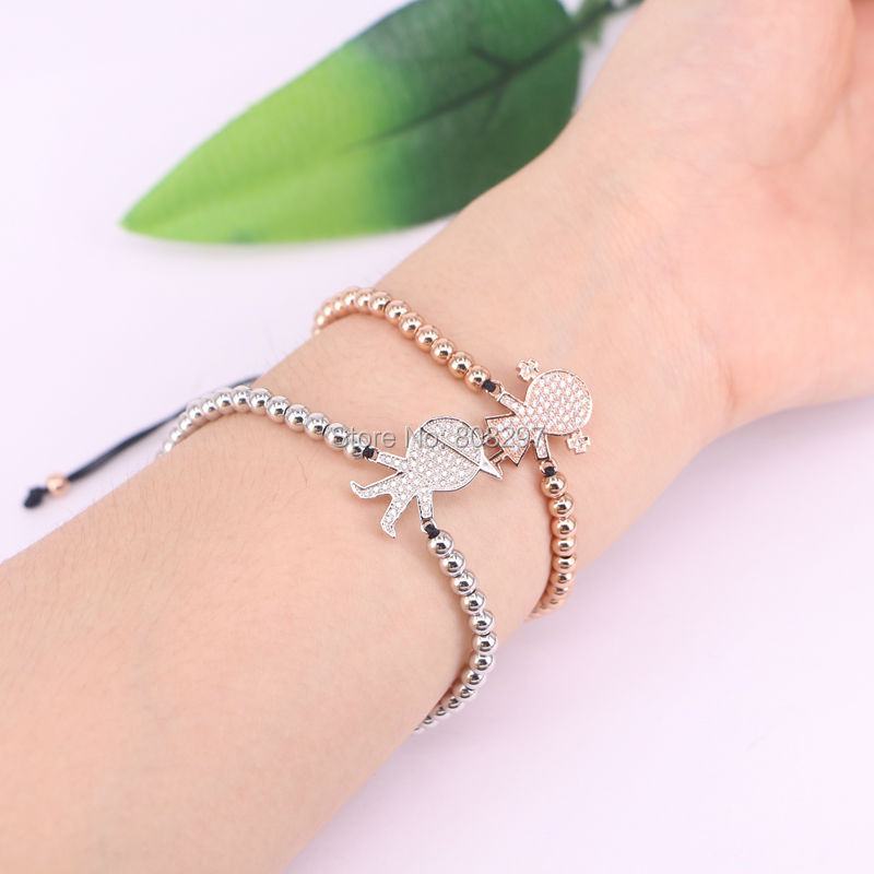 10PCS Gold Silver Color Round Beads Micro Pave CZ Connector Bead Macrame Braided Charm Bracelets For