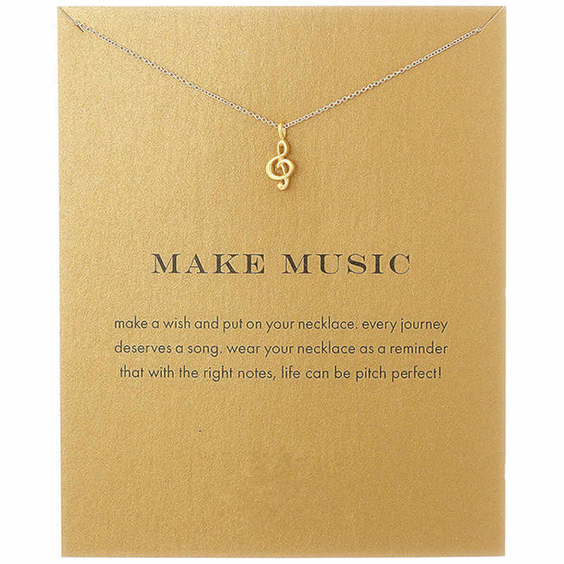 Fashion Jewelry Women's Alloy Love Make Music Note Fashion Pendant Chain Necklace