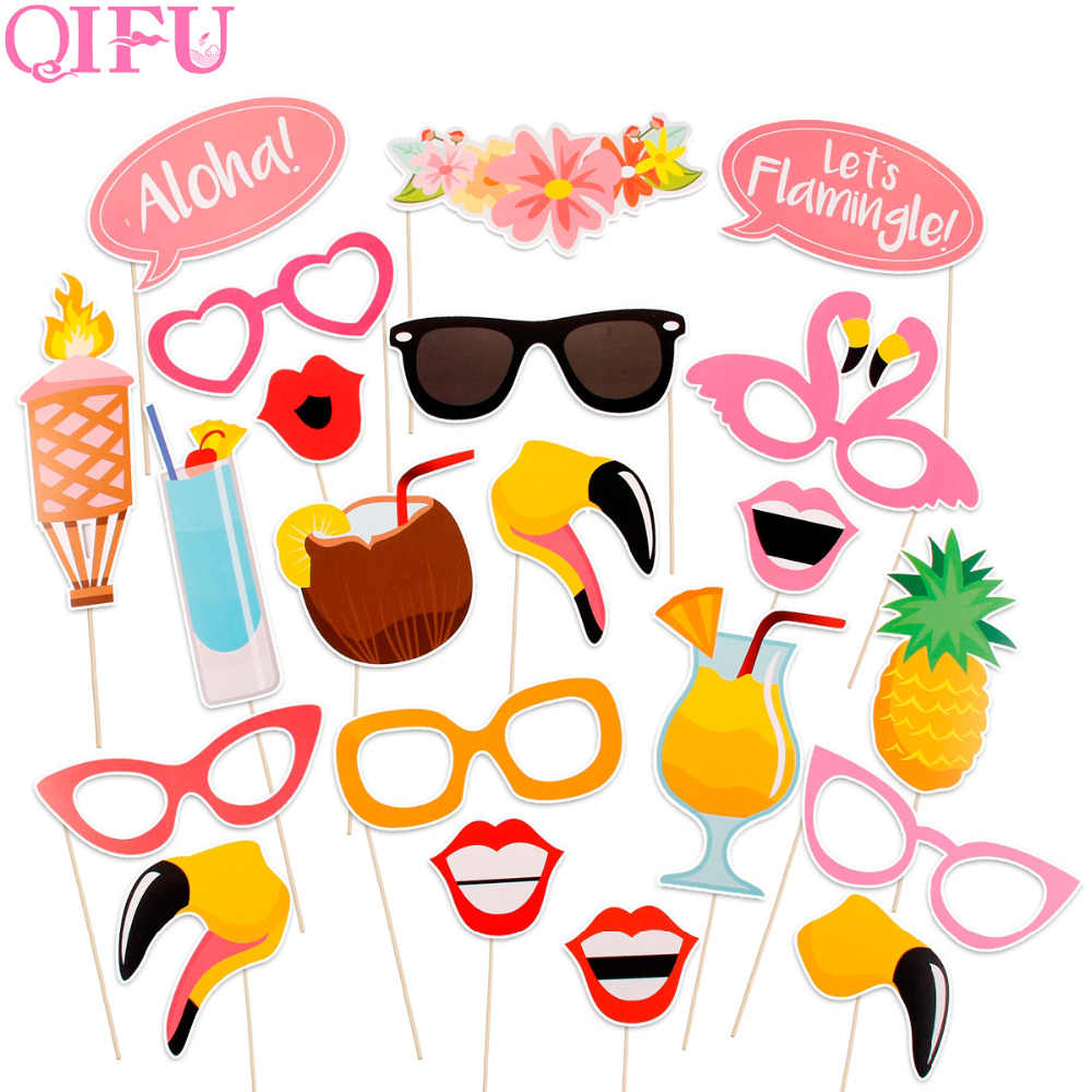 QIFU 21pcs Flamingo Photo Booth Props Carnaval Havaí Tropical Summer Party Photobooth Props Decoração Do Casamento Do Partido Havaiano