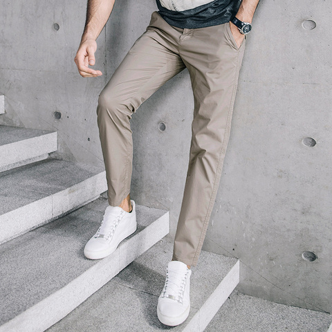 KUEGOU 2019 Summer Cotton Solid Black Gray Men Pants For Trousers Men Fashions Long Male Brand Clothing Casual Pants New 2397 Karachi
