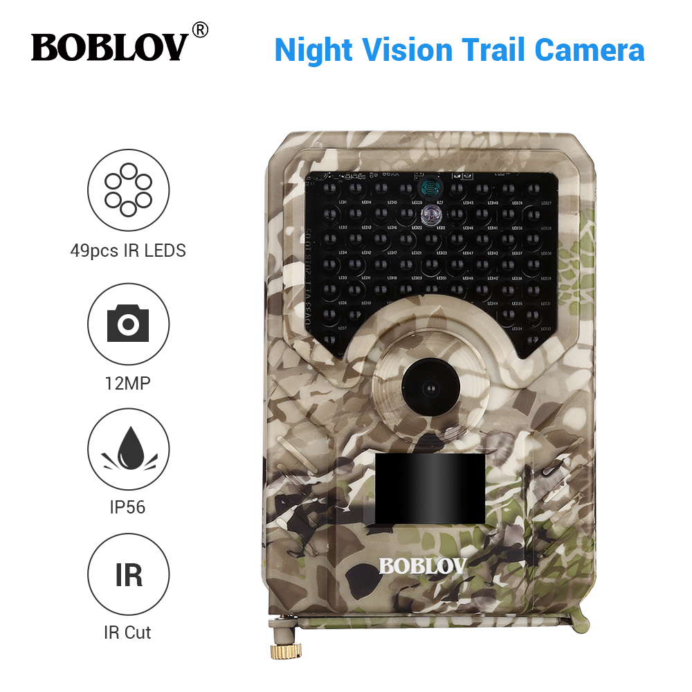 BOBLOV PR200 12MP 49PCS IR Leds Trail Hunting Camera Waterproof Outdoor Video Surveillance Wildlife Cameras Photo Traps w/belt-in Hunting Cameras from Sports & Entertainment