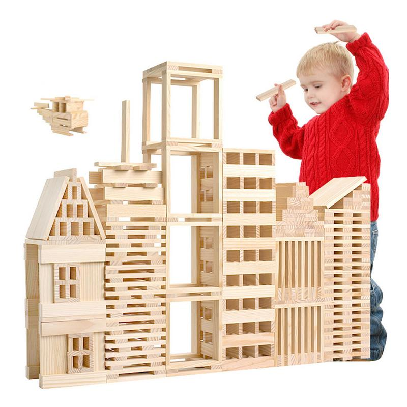 Wooden Construction Building Model Building Blocks Children's Intelligence Building Blocks Toy 100 Wood Board Set Extract Game lagopus classic bricks blocks game stacked layers hard wood building intellectual wooden toys