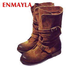 ENMAYER Mid-Calf genuine leather low heels short booties women buckle ankle boots spring autumn shoes woman motorcycle boots new
