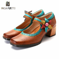Prova perfetto Hot Style Retro Flower Woman Pumps Bohemian Style Buckle Strap High Heels Square Toe Spring Casual Single Shoes