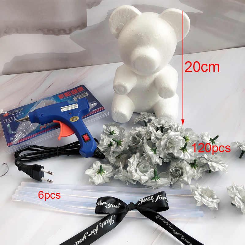 Rose artificielle ours en peluche 35cm mousse Rose ours moule or Rose ours pour la maison mariage fête décoration saint valentin cadeau
