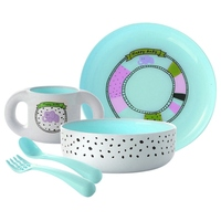 5pcs Baby Feeding Service Plate Dishes Tableware Kids Set Cup Bowl Spoon Dinnerware Tray Forks