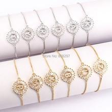 10 pçs ouro cores carta pulseira de cobre micro pave cz zircônia redonda charme pulseiras moda jóias