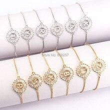 10Pcs Gold Colors Letter Bracelet Copper Micro Pave CZ Zirconia Round Charm Bracelets Fashion Jewelry