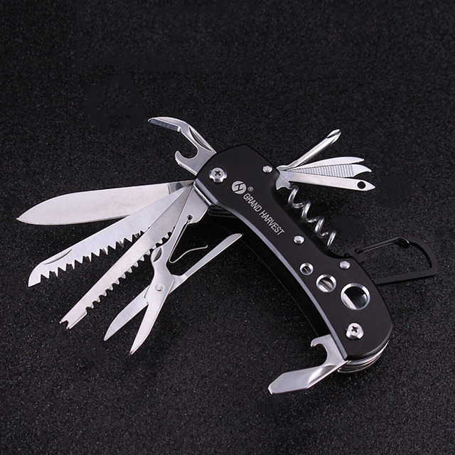 Outdoor Multi-functional Army Folding Knife Survival Tools Blade Saw Scissors Wine Opener Hook Fish Scaler Scraper Hiking Camp