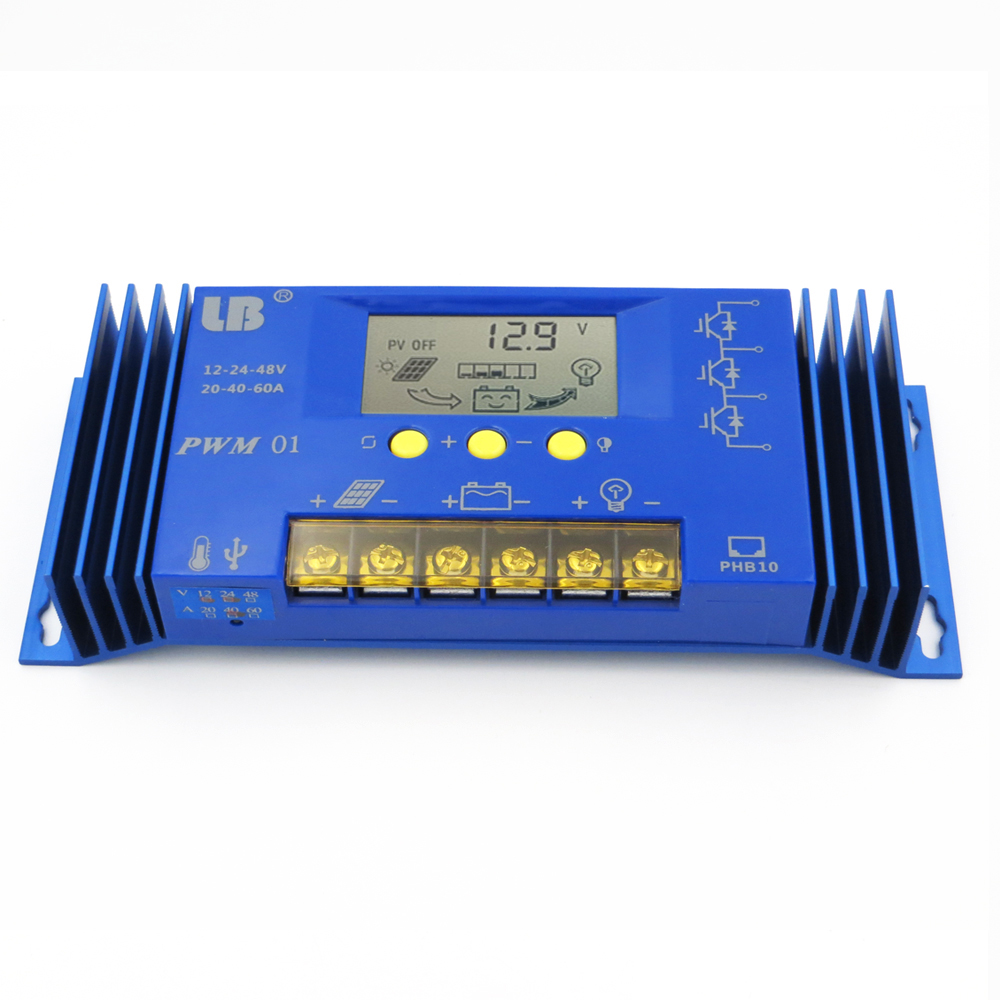 40A 60A PWM LB Brand Solar Panel Charge Controller Regulator LCD Display 12V/24V/48V Auto 40A Lithium iron battery Li Li-ion40A 60A PWM LB Brand Solar Panel Charge Controller Regulator LCD Display 12V/24V/48V Auto 40A Lithium iron battery Li Li-ion