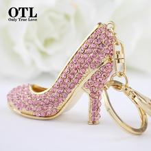 2016 New Style Chic High Heel Crystal Rhinestone Keychains Shoe Keyring charm Women Handbag key holder