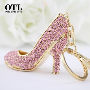 2016 New Style Chic High Heel Crystal Rhinestone Keychains Shoe Keyring charm Women Handbag key holder Girl Bag Pendant Jewelry Чокер