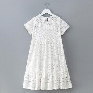 Image 2 - 8 16 세 십대 소녀 여름 흰 레이스 긴 드레스 우아한 공주 가운 2018 새로운 파티 옷 아이 드레스 큰 여자