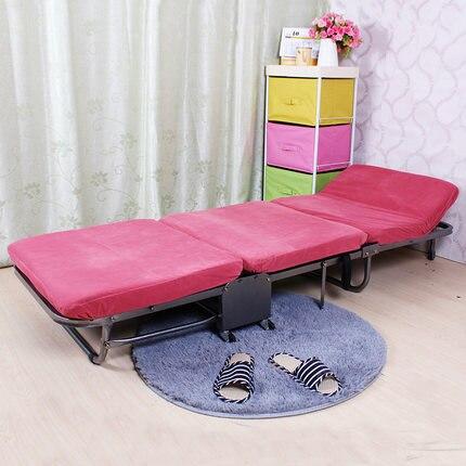 Ланч-брейк, складная односпальная кровать для офиса, трехслойная губчатая складная кровать для отдыха, Простая кровать для ухода - Цвет: pink
