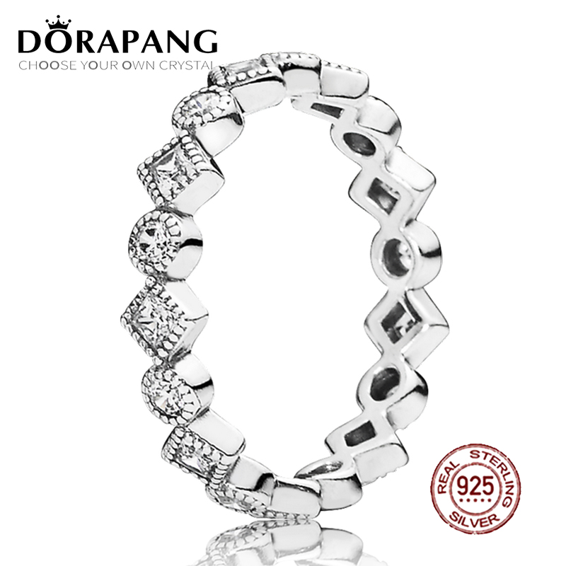 DORAPANG 100% 925 Sterling Silver Fashion Popular Charms Wedding Ring For Women Alluring Brilliant Princess Stackable Ring CZ