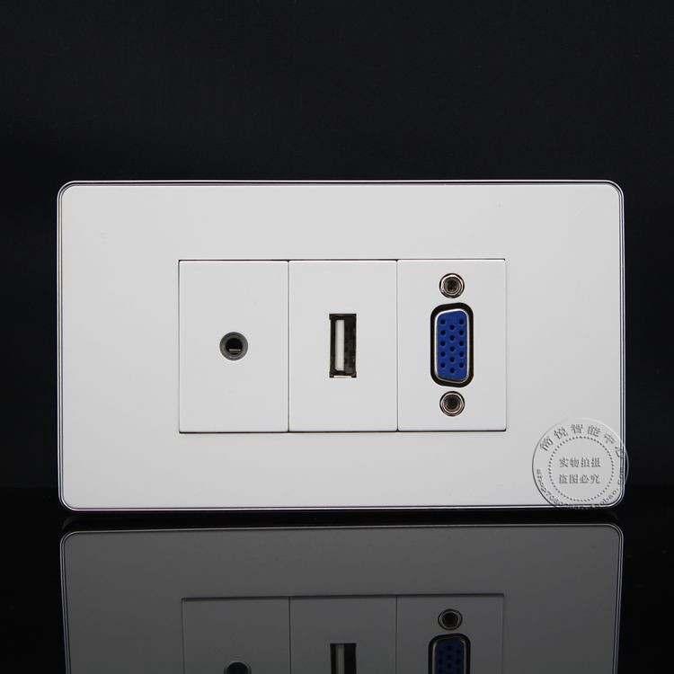 120MM Wall Face Plate 3.5mm Earphone Jack + VGA + USB Socket Assorted Panel Faceplate wall face plate rca av audio tv jack outlet socket assorted panel faceplate