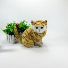 Simulation yellow cat polyethylene&furs cat model funny gift about 18cmx13cmx11cm