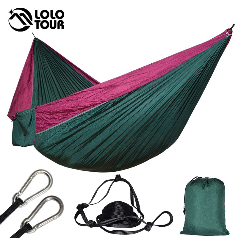 купить Outdoor Double Parachute Hammock Camping Bed Portable Sleeping Bad Hamaca Garden Swing Furniture 300*175cm по цене 1665.26 рублей