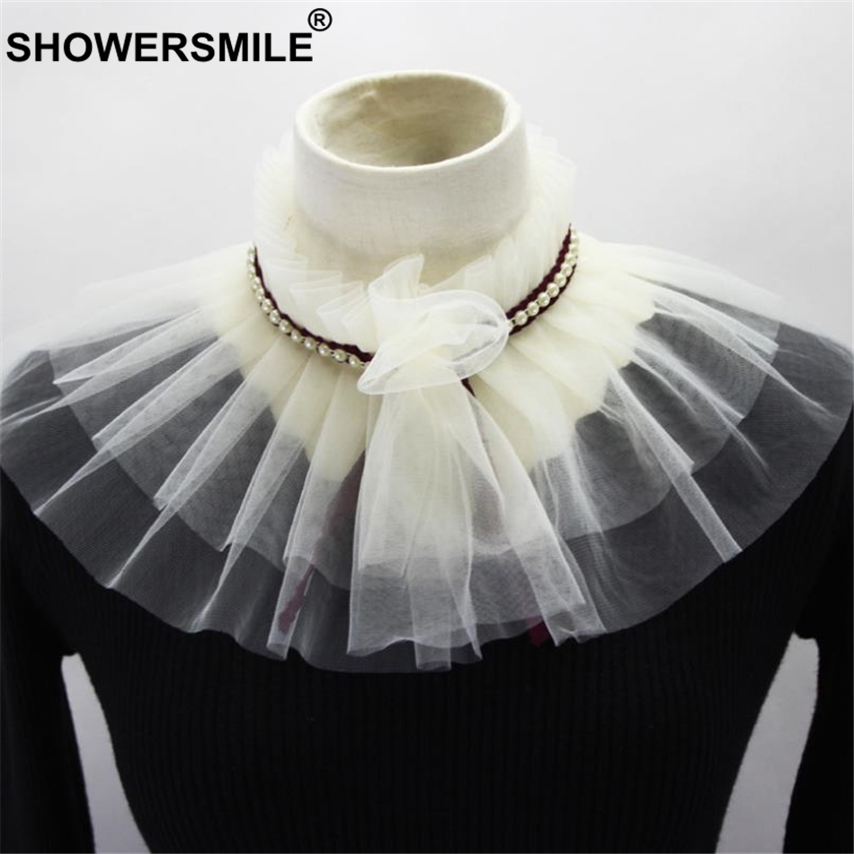 SHOWERSMILE Beige Detachable Collar For Women Wedding Accessories Pearl Fake Collar Ladies Autumn Ruffle False Stand Collar
