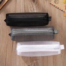 Pencil Case Simple Transparent Mesh Office School Student Cases Supplies Pen Box 19*4.5*4.5 cm Joy Corner