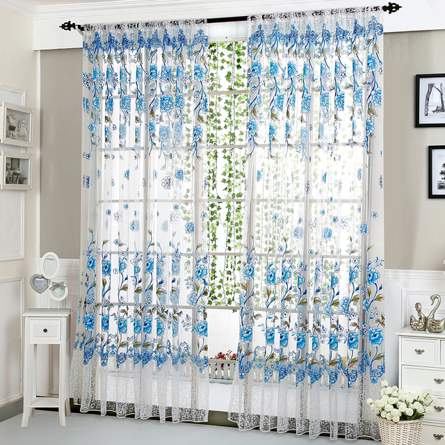 Peony Tulle Curtains For Bedroom Home Decor Living Room Window Decorative Screen Kids D