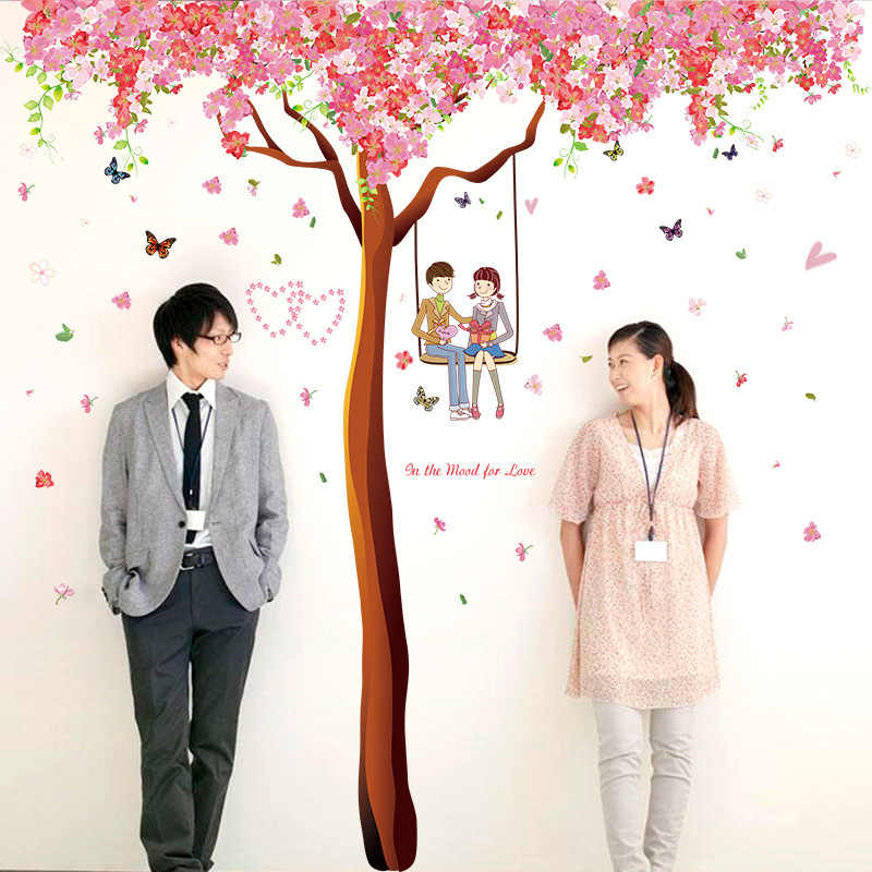 60*90cm DIY Romantic Cherry love Tree Wall Stickers Bedroom Living Room Tv Wall Sofa Background PVC Wedding Room Decorations
