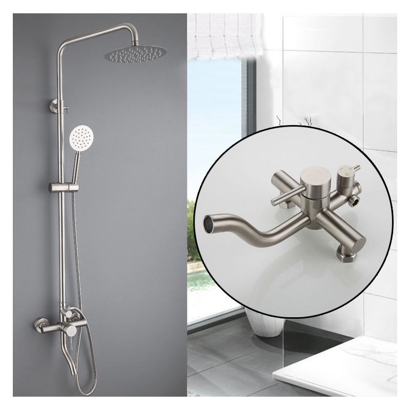 Bathroom Shower Faucet Set Stainless Steel Rainfall Shower Head Taps Tub Spout Wall Mounted Faucet Bath Shower Faucet Tap SetBathroom Shower Faucet Set Stainless Steel Rainfall Shower Head Taps Tub Spout Wall Mounted Faucet Bath Shower Faucet Tap Set