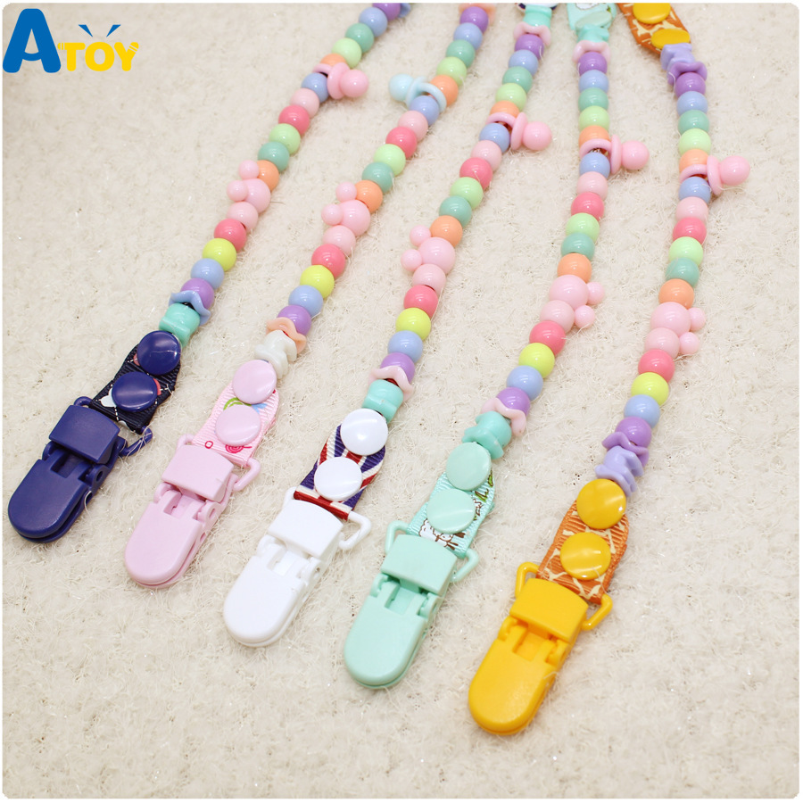 Baby Pacifier Clips Pacifier Chain Dummy Clip Nipple Holder Handmade Nipple Clip Baby Teething Pacifier Anti-drop Chain