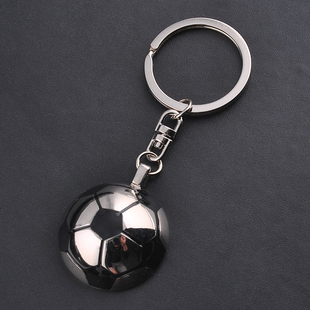 Unique Soccer Football Ball Stainless Steel Metal hemispherical Keychain Key Chain Ring Gift Fashion Sport Jewelry For Girl Boys