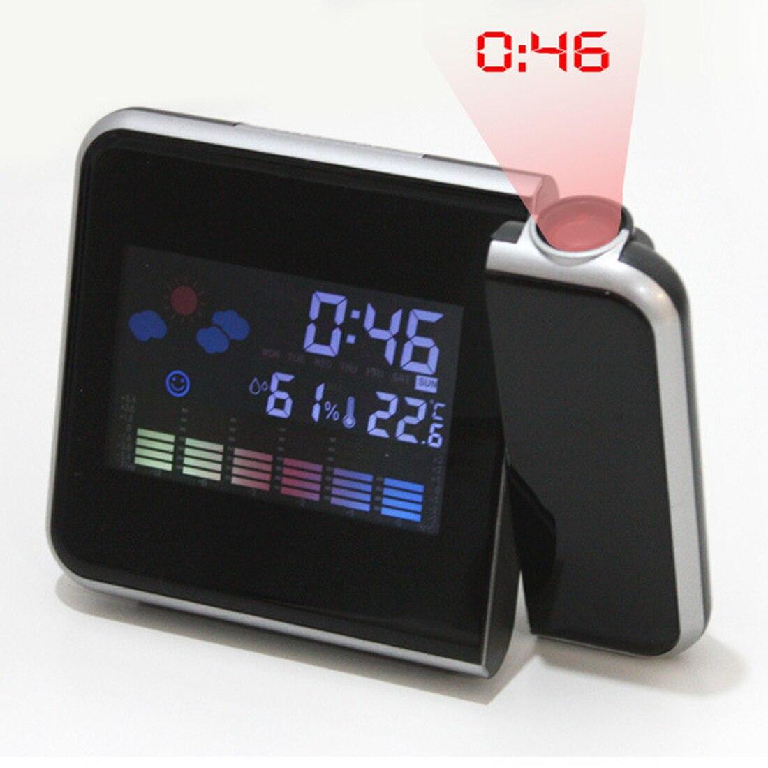 Negro proyección Digital Reloj despertador estación meteorológica con termómetro de temperatura humedad higrómetro/noche despierta para proyector
