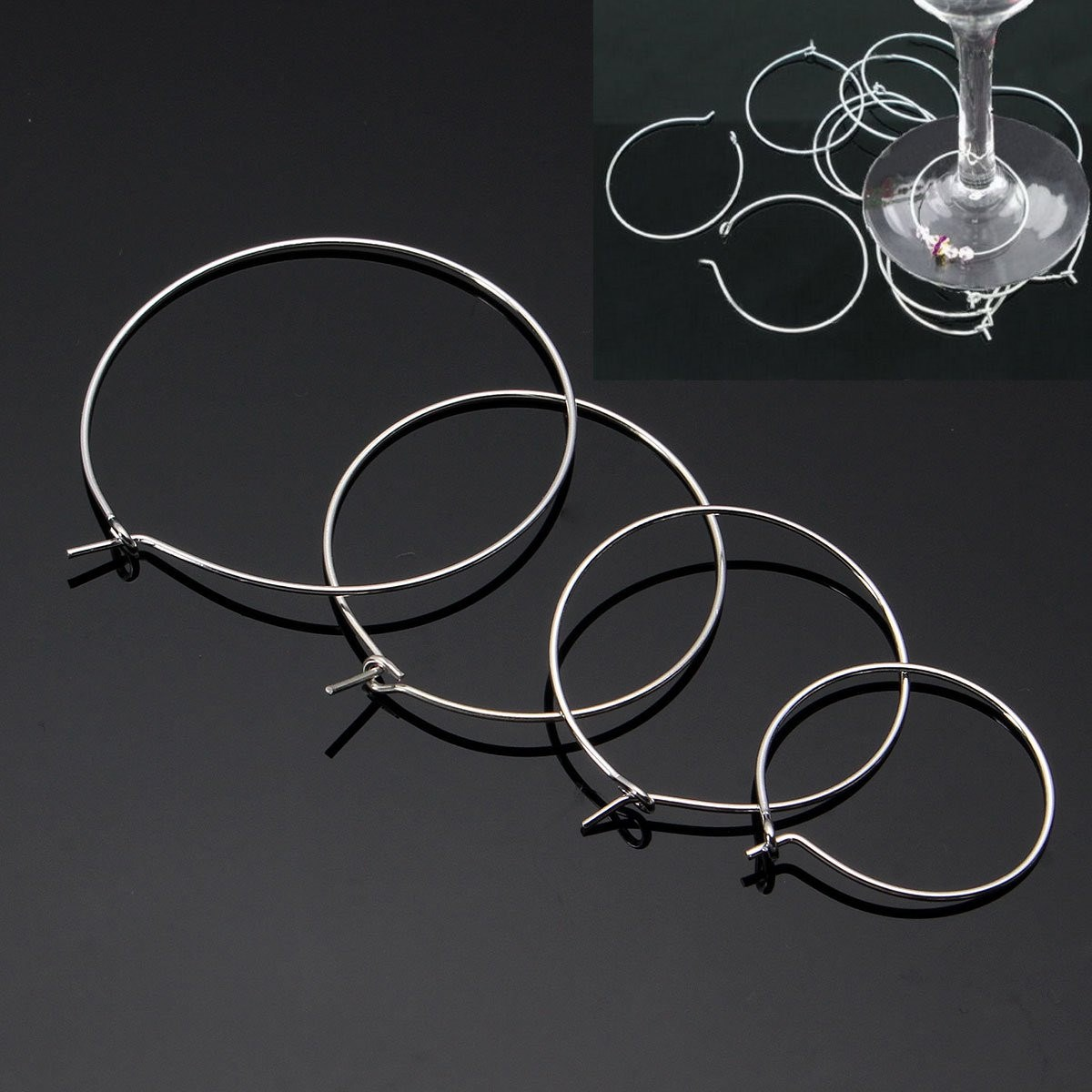 100pcs Silver Plated Wine Glass Charm Rings DIY Wire Hoops Drink ...