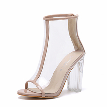 Mulheres PVC Transparente Botas Peep Toe Botas de Tornozelo Calcanhar Transparente bundinha de Alta Top Sapatos de Verão Sandálias de Salto Bloco Perspex Lucite bombas