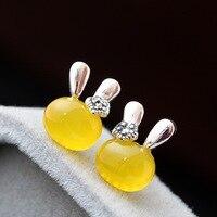 925 Sterling Silber Gelb Kaninchen Ohrstecker für Frauen Mädchen Geschenk Delicate Nette Ohrringe Tier Schmuck
