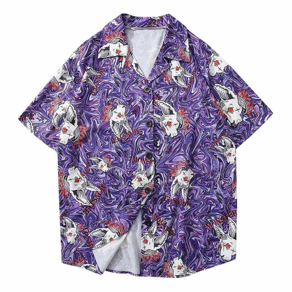 Мужские рубашки модные летние пляжные Гавайские рубашки 2019 с коротким рукавом плюс размер цветочные рубашки мужские пляжные Топы Свободная Повседневная Блузка