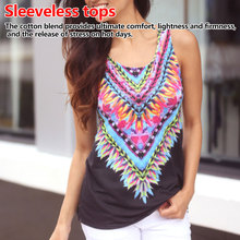 Fashion Women Summer Loose Sleeveless Casual Tank T-Shirt Blouse Tops Vest Bohemian Print Halter Top Printed Slings