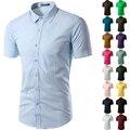 Camisa de los hombres de Manga corta Slim Fit Camisa Masculina Sociales Chemise Homme Para Hombre Camisas de Vestir Ropa de Hombre Vestidos Importados 6537