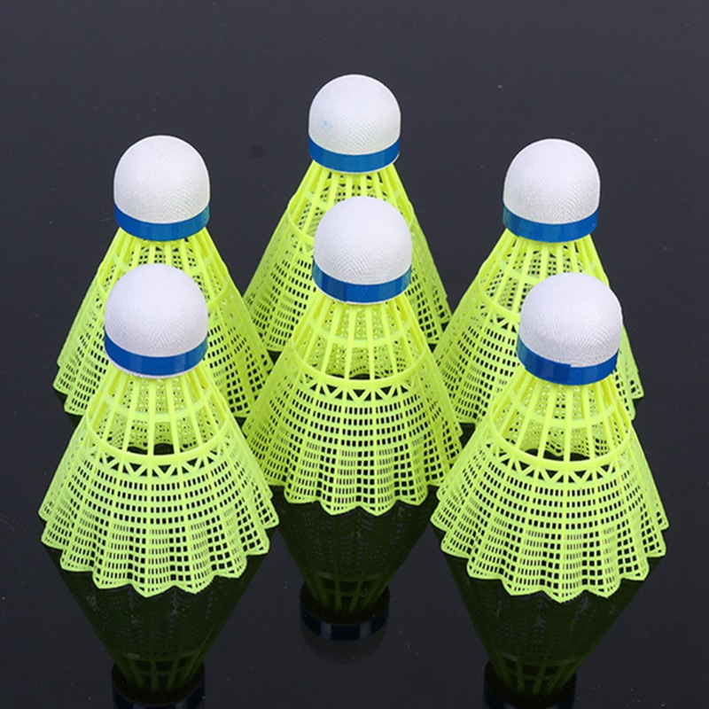 6pcs Super Durable/Light Plastic Nylon Badminton Ball Training Ball Plastic Shuttle Cork Wood Ball Head