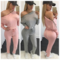 New fashion brand 2016 full sleeve Solid suit slash neck casual rompers women sweat suit