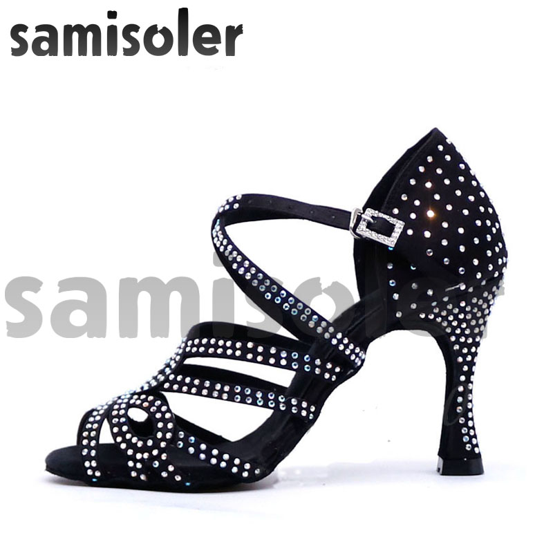 Samisoler Glitter Rhinestone Latin Dance Shoes Women Satin Salsa Dancing Shoes For Woman Tango Jazz Ballroom Dance Shoes Women