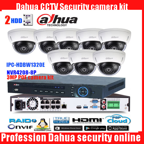Original ENGLISH dahua 8PoE H265 NVR Network Video Recorder NVR4208-8P-4KS2 with 8PCS IPC-HDBW1320E 3MP POE IP67 dome IP camera dahua network video recoder nvr4208 8p hds2 nvr4216 16p hds2 8 16ch nvr support onvif poe nvr recorder for poe camera