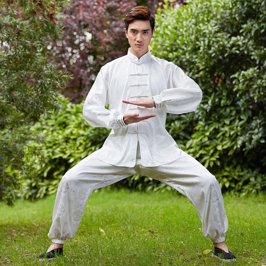 Silver Chinese Men Kung fu Uniform Cotton Tai Chi Suit Mandarin Collar Wushu Clothing Size M