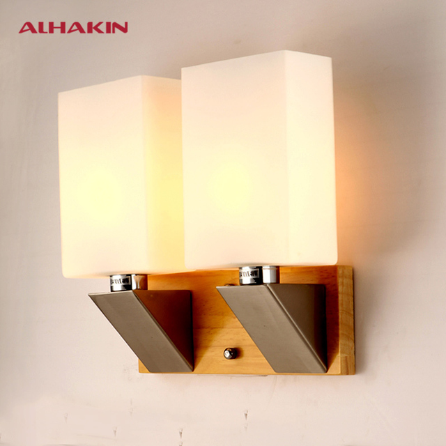ALHAKIN Simple Japanese Tatami Wooden Wall Lamp For Bedroom Glass ...