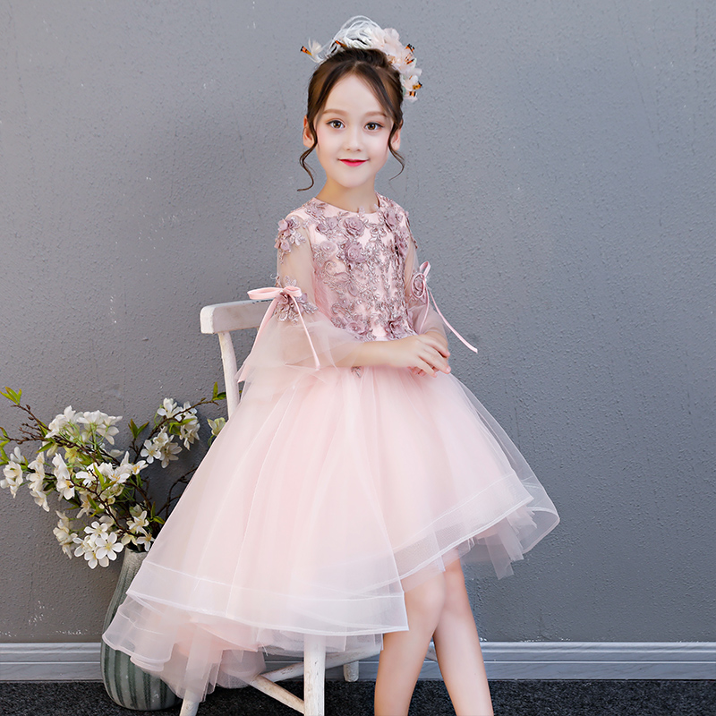 2018 Summer New Baby Toddler Birthday Wedding Party Princess Lace Flowers Tutu Dress Children Kids Sweet Model Show Tail Dress 2018 new children girls elegant pure white color birthday wedding party princess lace flowers dress baby kids model show dress