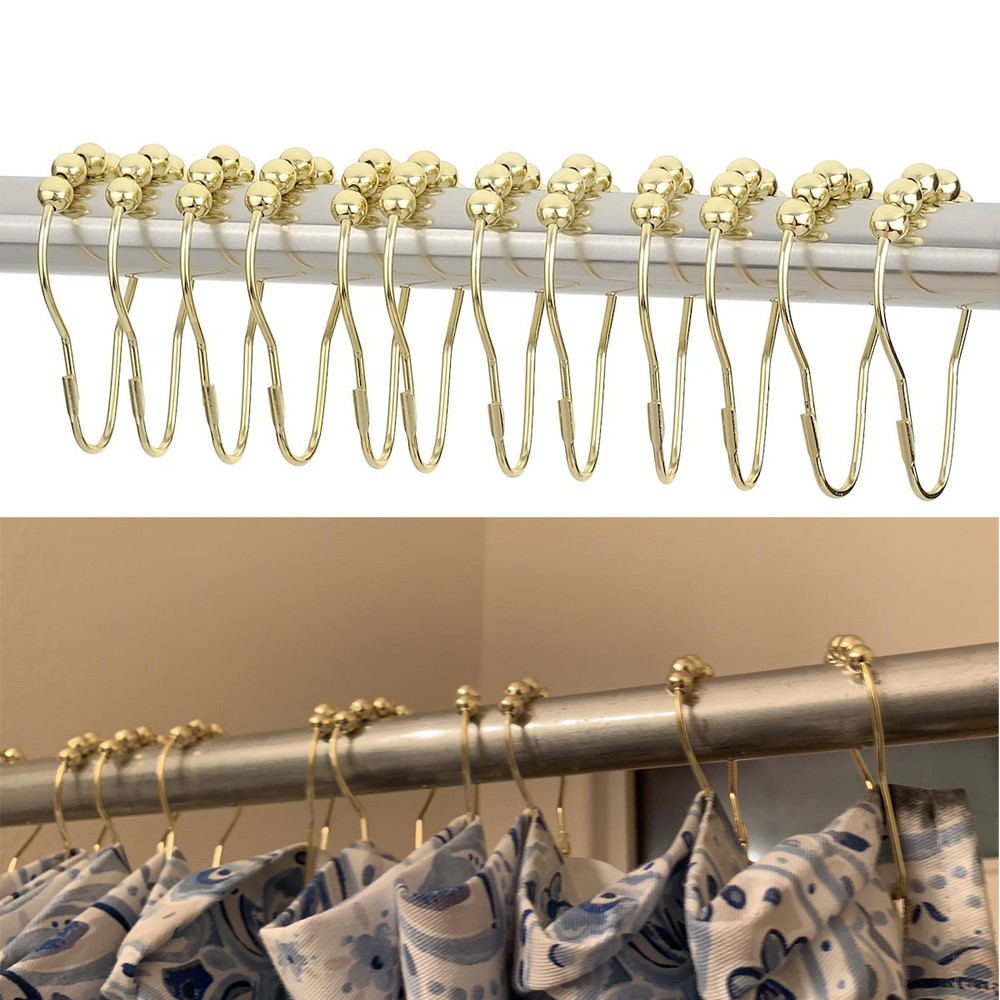 12Pcs/Set Elegant Gold Shower Curtain Hooks Rolling Ball Rings Rust-Resistant Shower Curtain Hooks Home Bathroom Essential Hook