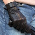 Limited 2017 Men Gloves Wrist Button Solid Sheepskin Glove Fashion Male Genuine Leather Winter For Driving Free Shipping M021pc