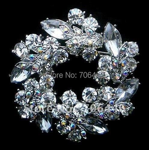 Серебряные броши горный хрусталь алмазные Кристальные уникальные цветочный венок брошь булавка